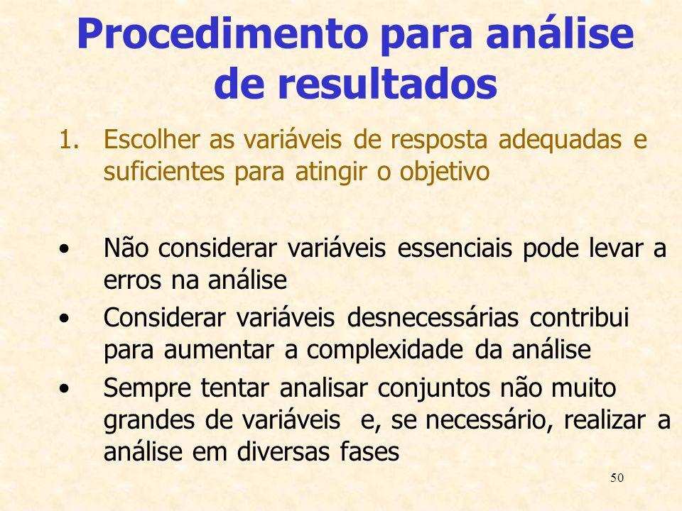 50 Procedimento para análise de resultados 1.Escolher as variáveis de resposta adequadas e suficientes para atingir o objetivo Não considerar variávei