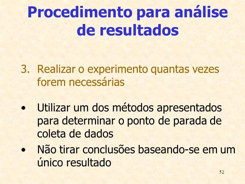 52 Procedimento para análise de resultados 3.Realizar o experimento quantas vezes forem necessárias Utilizar um dos métodos apresentados para determin