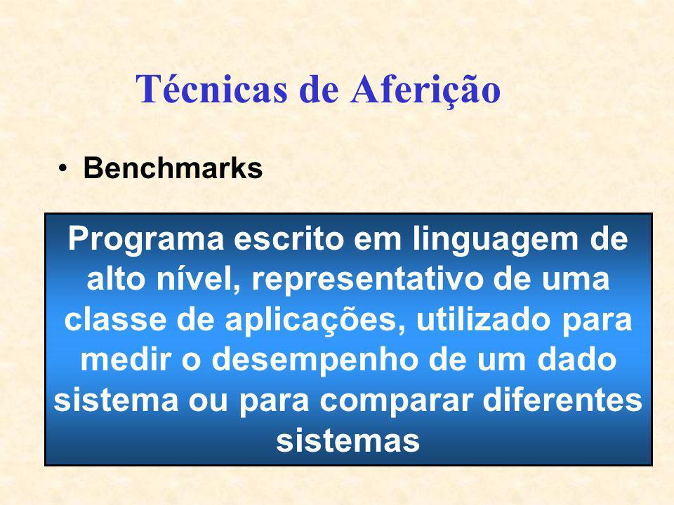 Técnicas de Aferição Benchmarks Programa escrito em linguagem de alto nível, representativo de uma classe de aplicações, utilizado para medir o desemp