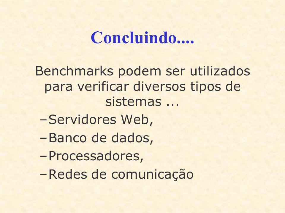 Concluindo.... Benchmarks podem ser utilizados para verificar diversos tipos de sistemas... –Servidores Web, –Banco de dados, –Processadores, –Redes d