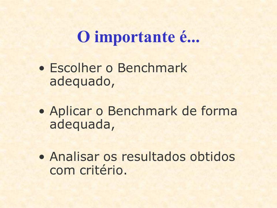O importante é... Escolher o Benchmark adequado, Aplicar o Benchmark de forma adequada, Analisar os resultados obtidos com critério.