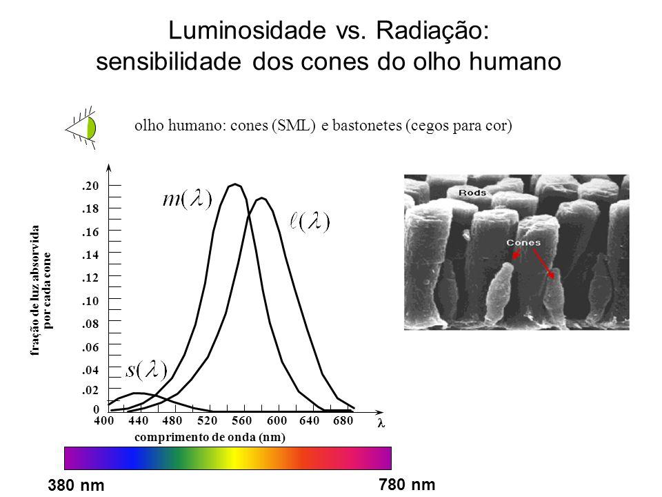 Luminosidade vs. Radiação: sensibilidade dos cones do olho humano olho humano: cones (SML) e bastonetes (cegos para cor).02 0.04.06.08.10.12.14.16.18.
