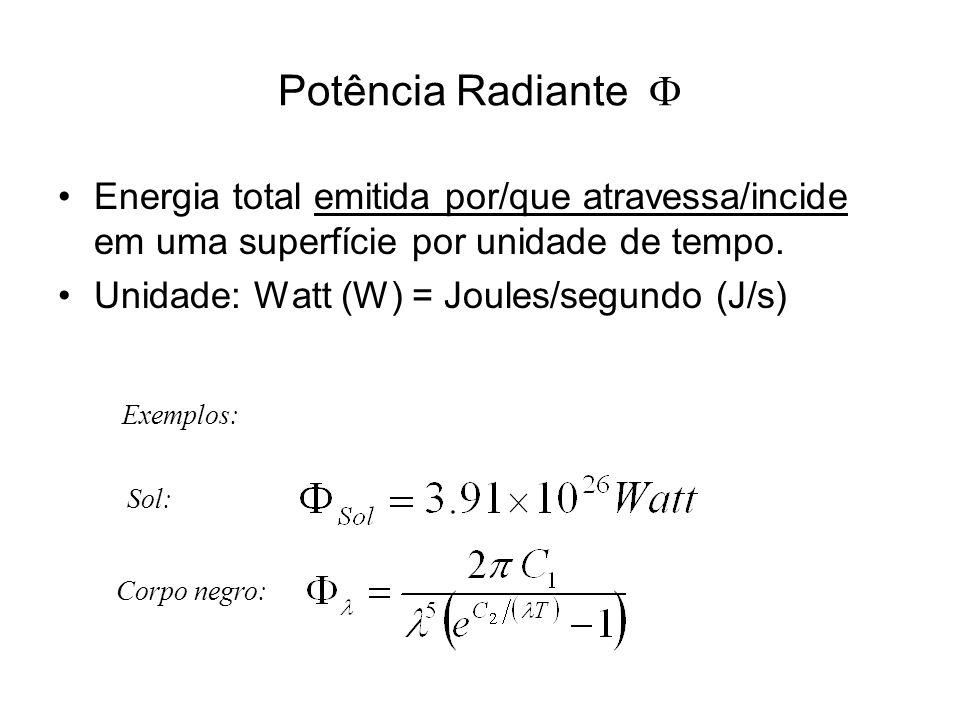 Potência Radiante Energia total emitida por/que atravessa/incide em uma superfície por unidade de tempo. Unidade: Watt (W) = Joules/segundo (J/s) Sol: