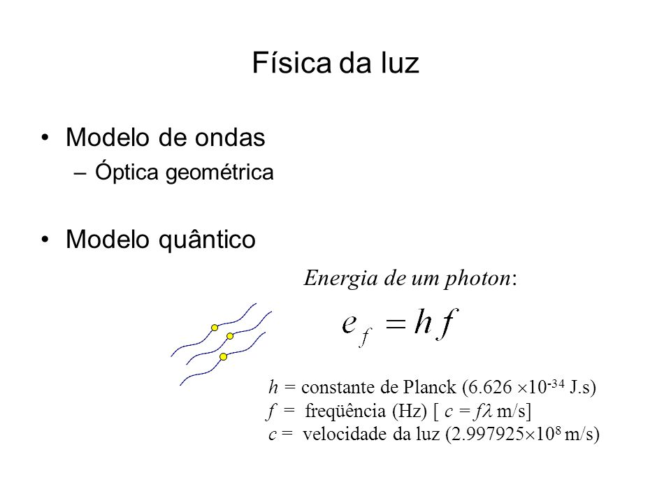 Física da luz Modelo de ondas –Óptica geométrica Modelo quântico h = constante de Planck (6.626 10 -34 J.s) f = freqüência (Hz) [ c = f m/s] c = veloc