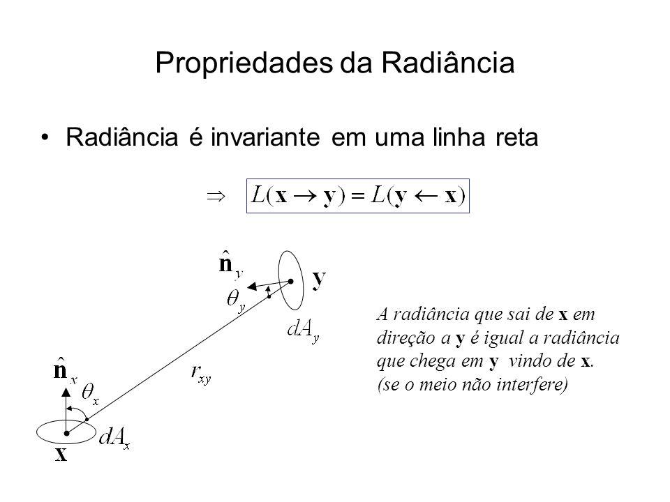 Propriedades da Radiância Radiância é invariante em uma linha reta A radiância que sai de x em direção a y é igual a radiância que chega em y vindo de