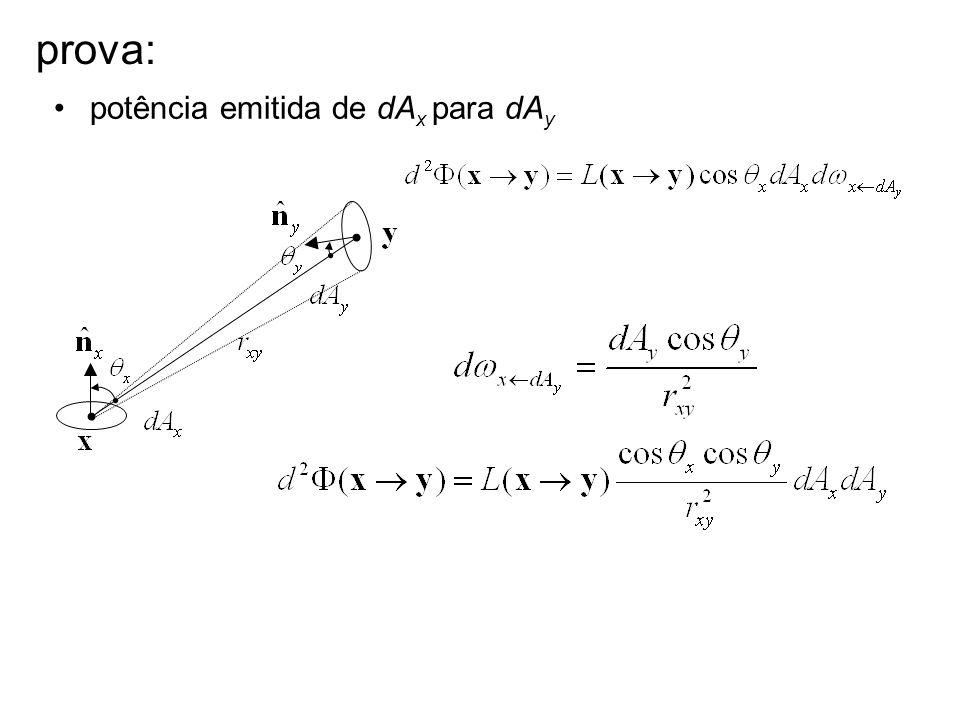 prova: potência emitida de dA x para dA y