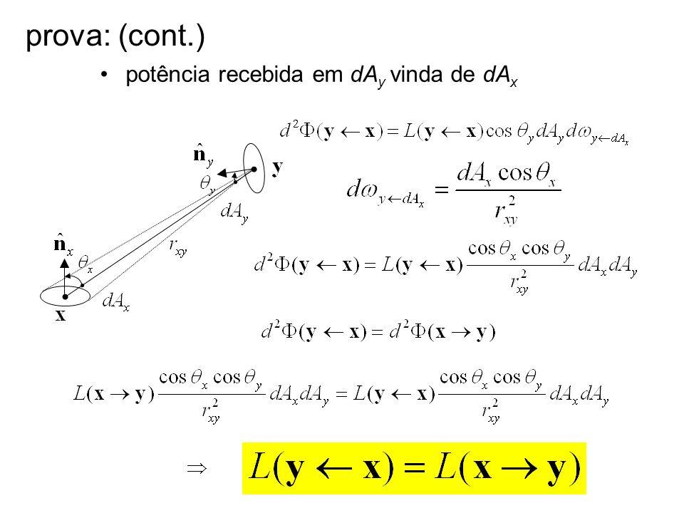 prova: (cont.) potência recebida em dA y vinda de dA x
