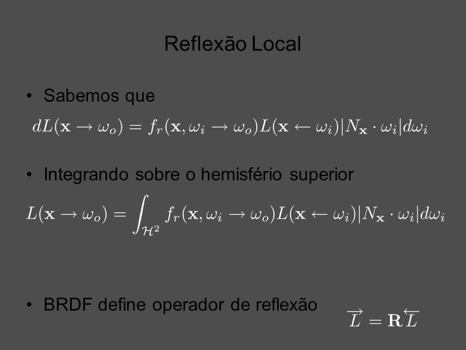 Reflexão Local Sabemos que Integrando sobre o hemisfério superior BRDF define operador de reflexão