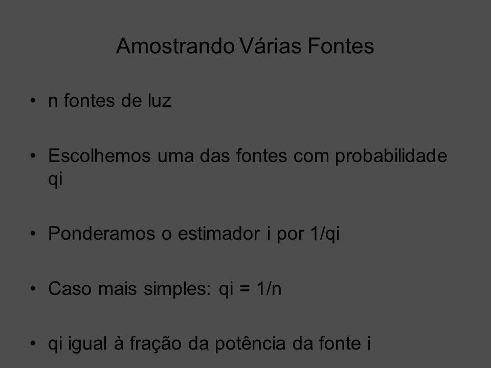 Amostrando Várias Fontes n fontes de luz Escolhemos uma das fontes com probabilidade qi Ponderamos o estimador i por 1/qi Caso mais simples: qi = 1/n