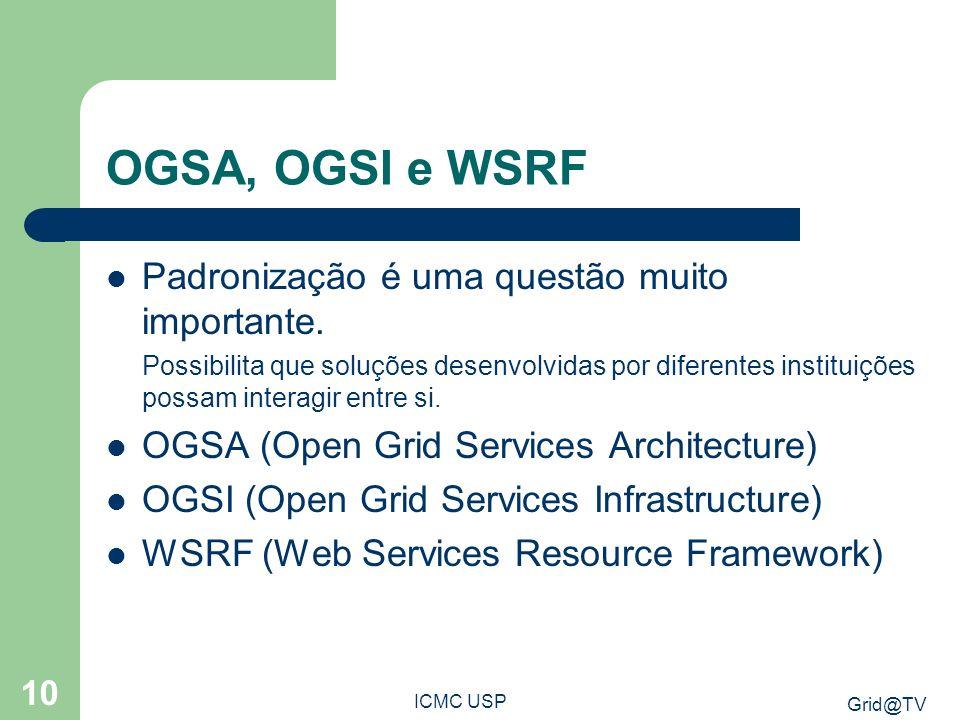 Grid@TV ICMC USP 10 OGSA, OGSI e WSRF Padronização é uma questão muito importante. Possibilita que soluções desenvolvidas por diferentes instituições