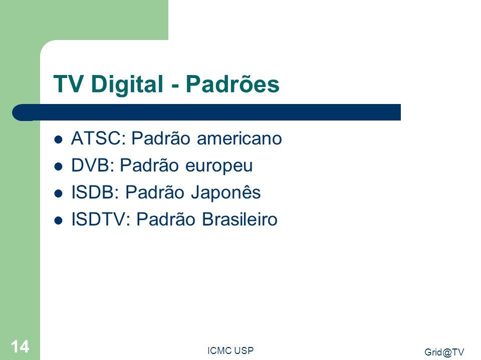 Grid@TV ICMC USP 14 TV Digital - Padrões ATSC: Padrão americano DVB: Padrão europeu ISDB: Padrão Japonês ISDTV: Padrão Brasileiro