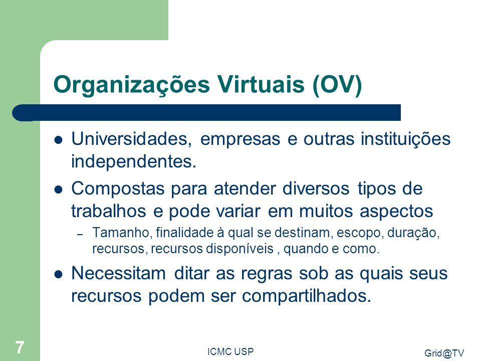 Grid@TV ICMC USP 7 Organizações Virtuais (OV) Universidades, empresas e outras instituições independentes. Compostas para atender diversos tipos de tr