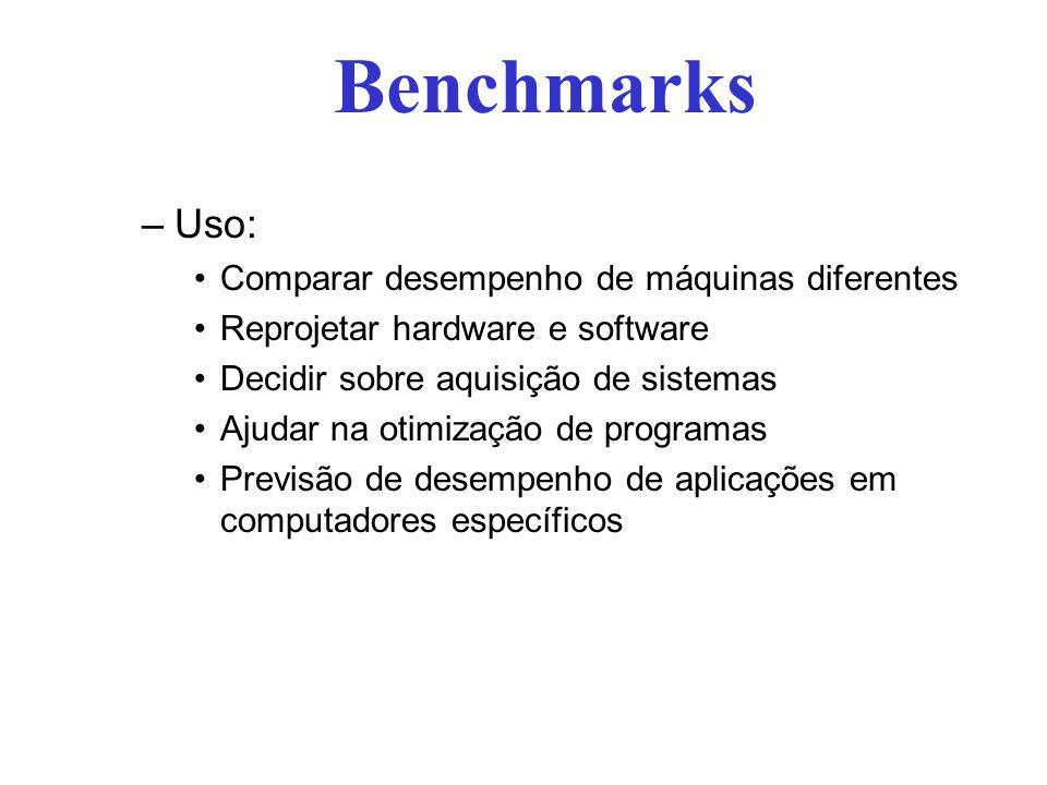 Benchmarks –Uso: Comparar desempenho de máquinas diferentes Reprojetar hardware e software Decidir sobre aquisição de sistemas Ajudar na otimização de programas Previsão de desempenho de aplicações em computadores específicos