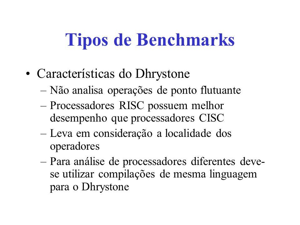 Tipos de Benchmarks Características do Dhrystone –Não analisa operações de ponto flutuante –Processadores RISC possuem melhor desempenho que processadores CISC –Leva em consideração a localidade dos operadores –Para análise de processadores diferentes deve- se utilizar compilações de mesma linguagem para o Dhrystone