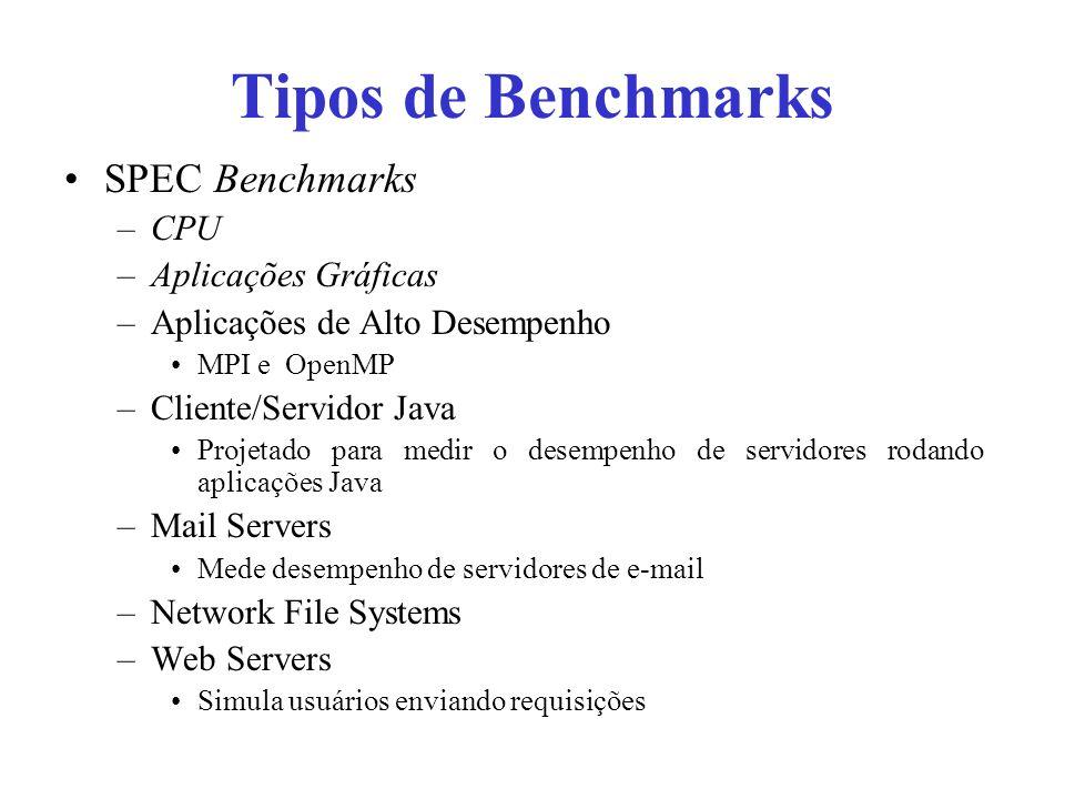 Tipos de Benchmarks SPEC Benchmarks –CPU –Aplicações Gráficas –Aplicações de Alto Desempenho MPI e OpenMP –Cliente/Servidor Java Projetado para medir o desempenho de servidores rodando aplicações Java –Mail Servers Mede desempenho de servidores de e-mail –Network File Systems –Web Servers Simula usuários enviando requisições