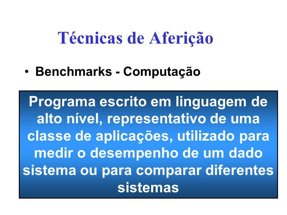 Técnicas de Aferição Benchmarks - Computação Programa escrito em linguagem de alto nível, representativo de uma classe de aplicações, utilizado para medir o desempenho de um dado sistema ou para comparar diferentes sistemas