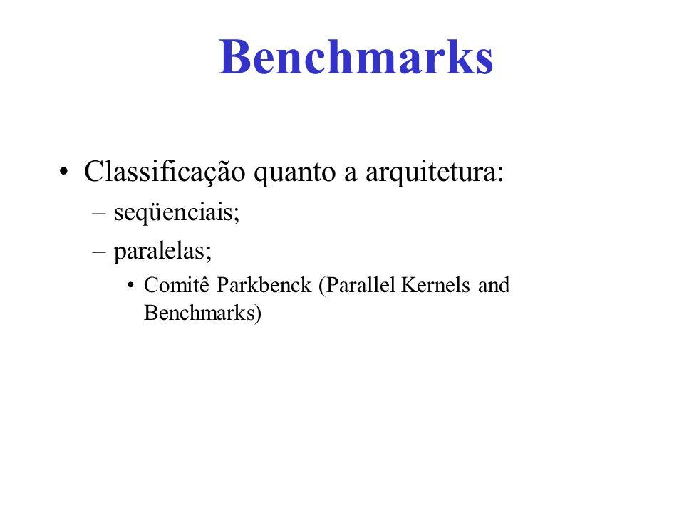 Classificação quanto a arquitetura: –seqüenciais; –paralelas; Comitê Parkbenck (Parallel Kernels and Benchmarks) Benchmarks