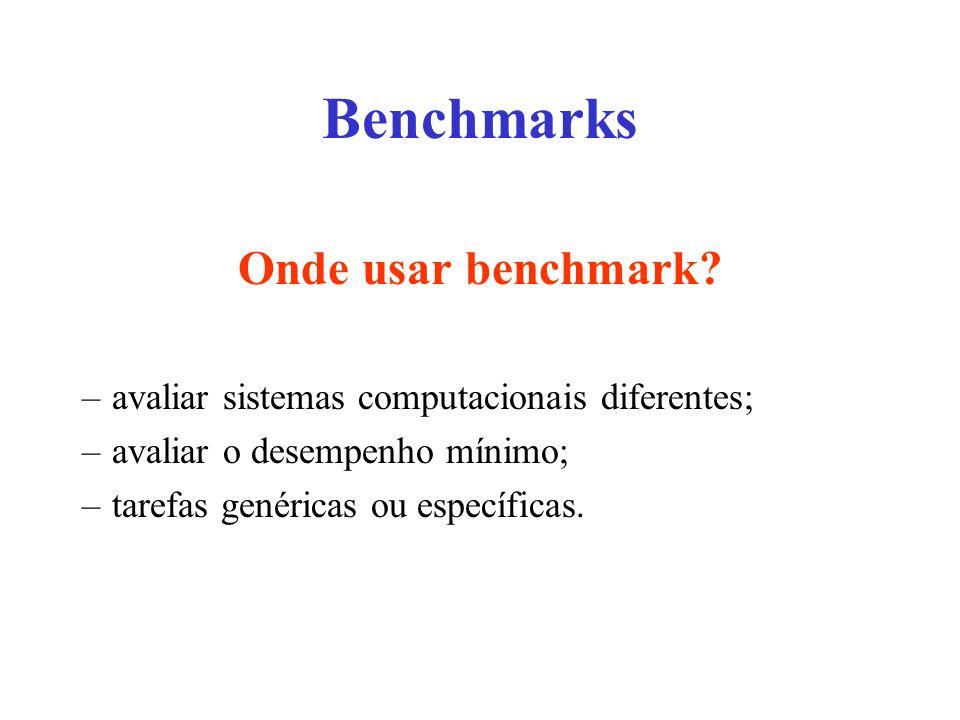 Onde usar benchmark? –avaliar sistemas computacionais diferentes; –avaliar o desempenho mínimo; –tarefas genéricas ou específicas.