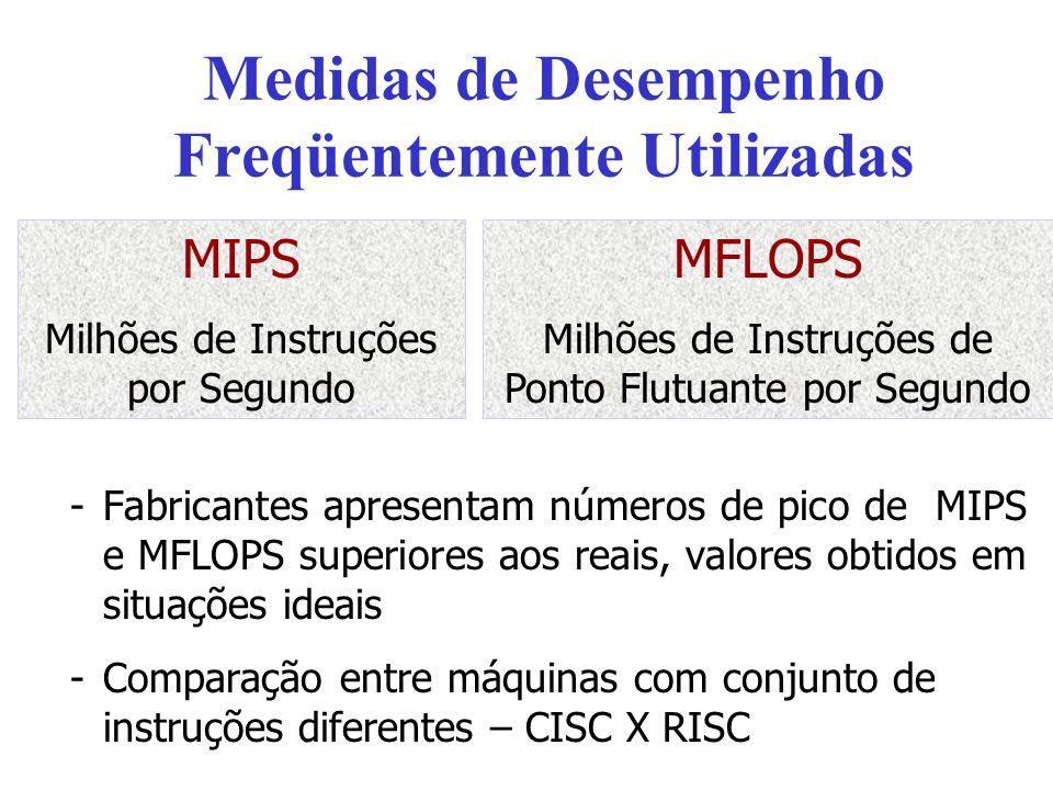 Medidas de Desempenho Freqüentemente Utilizadas -Fabricantes apresentam números de pico de MIPS e MFLOPS superiores aos reais, valores obtidos em situ