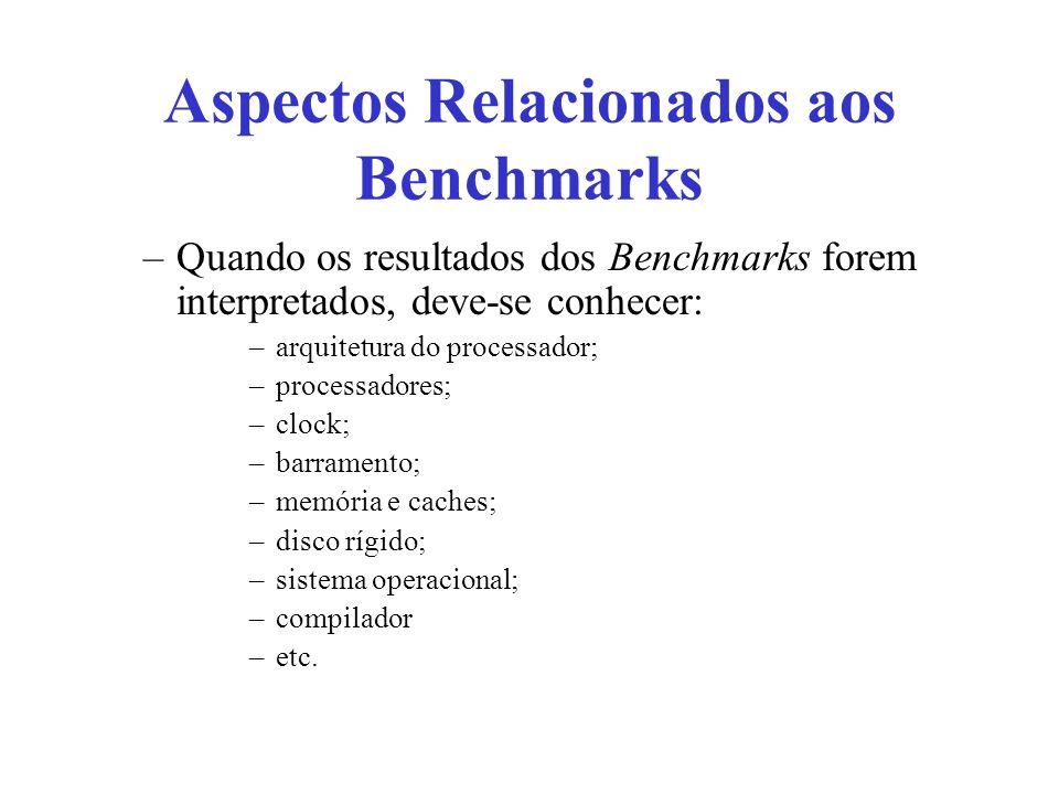 Aspectos Relacionados aos Benchmarks –Quando os resultados dos Benchmarks forem interpretados, deve-se conhecer: –arquitetura do processador; –process