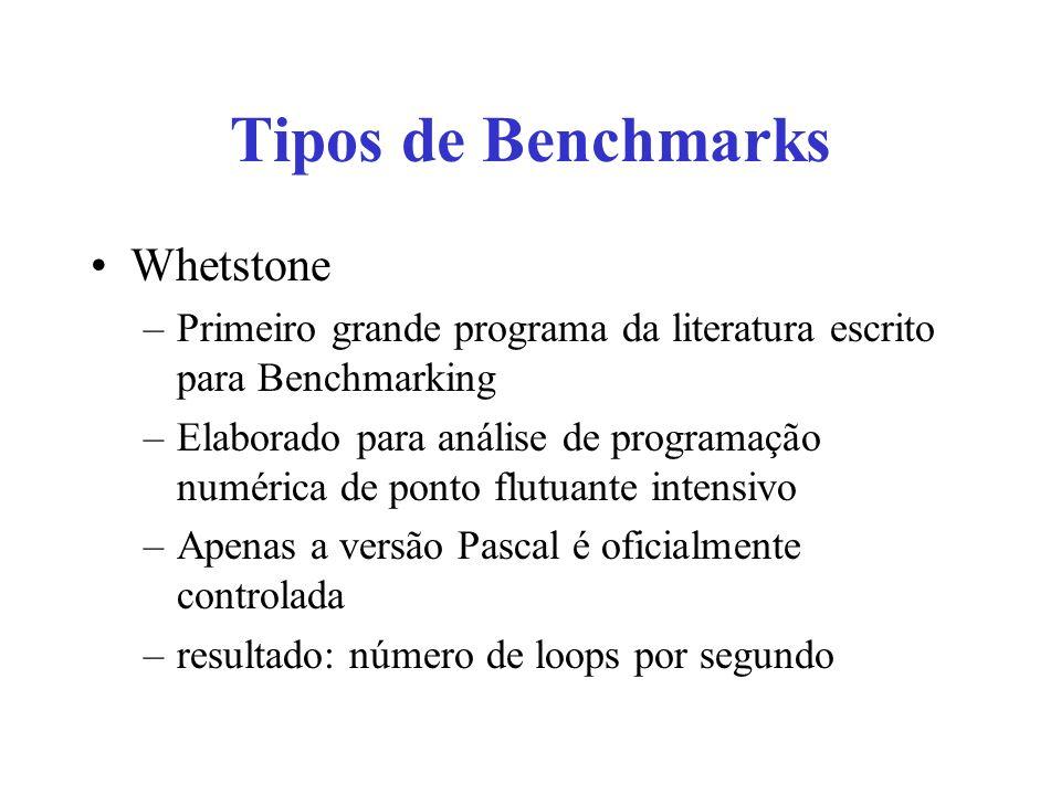 Tipos de Benchmarks Whetstone –Primeiro grande programa da literatura escrito para Benchmarking –Elaborado para análise de programação numérica de pon