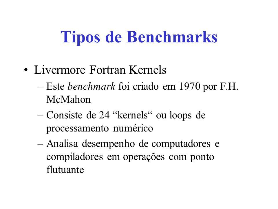 Tipos de Benchmarks Livermore Fortran Kernels –Este benchmark foi criado em 1970 por F.H. McMahon –Consiste de 24 kernels ou loops de processamento nu