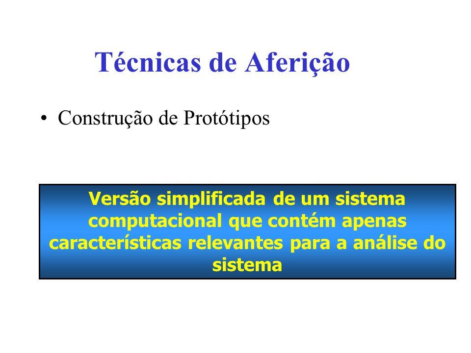 Técnicas de Aferição Construção de Protótipos Versão simplificada de um sistema computacional que contém apenas características relevantes para a análise do sistema