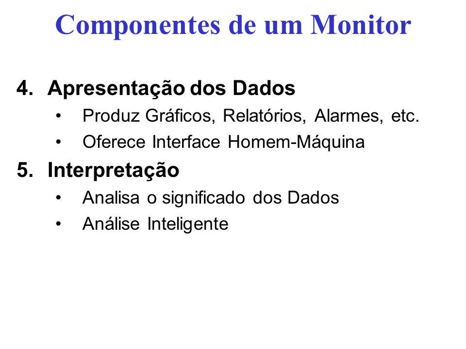 Componentes de um Monitor 4.Apresentação dos Dados Produz Gráficos, Relatórios, Alarmes, etc. Oferece Interface Homem-Máquina 5.Interpretação Analisa