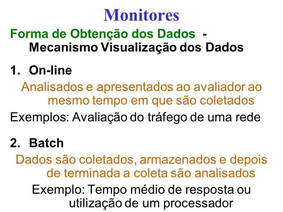 Monitores Forma de Obtenção dos Dados - Mecanismo Visualização dos Dados 1.On-line Analisados e apresentados ao avaliador ao mesmo tempo em que são coletados Exemplos: Avaliação do tráfego de uma rede 2.Batch Dados são coletados, armazenados e depois de terminada a coleta são analisados Exemplo: Tempo médio de resposta ou utilização de um processador
