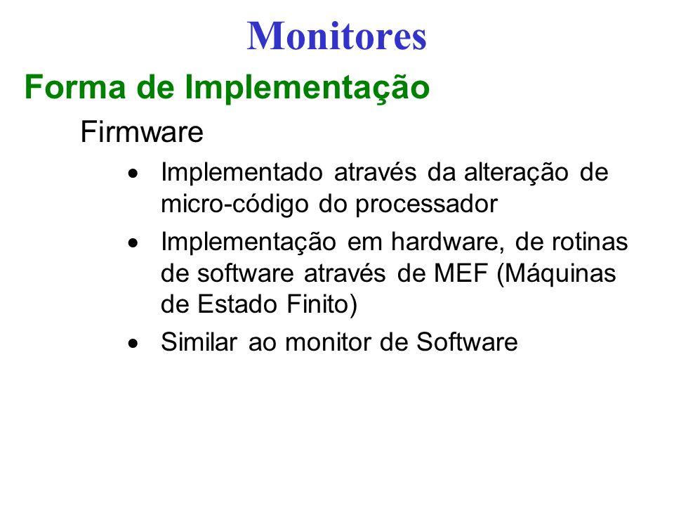 Monitores Forma de Implementação Firmware Implementado através da alteração de micro-código do processador Implementação em hardware, de rotinas de software através de MEF (Máquinas de Estado Finito) Similar ao monitor de Software