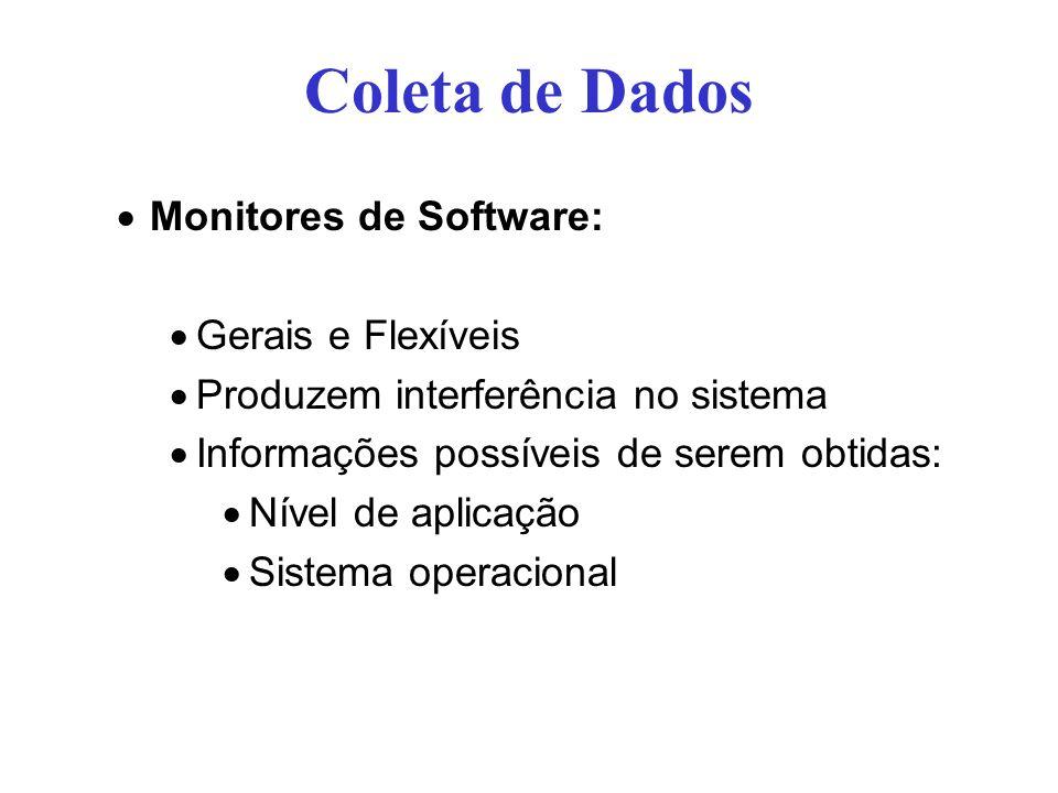 Coleta de Dados Monitores de Software: Gerais e Flexíveis Produzem interferência no sistema Informações possíveis de serem obtidas: Nível de aplicação Sistema operacional