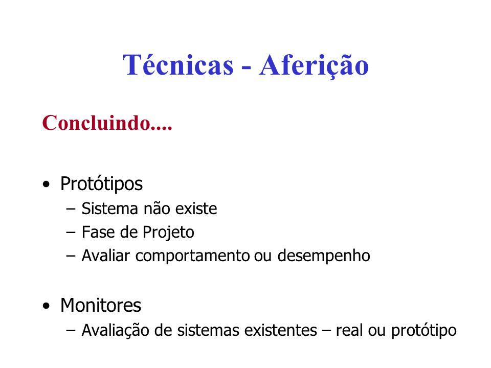 Técnicas - Aferição Concluindo.... Protótipos –Sistema não existe –Fase de Projeto –Avaliar comportamento ou desempenho Monitores –Avaliação de sistem