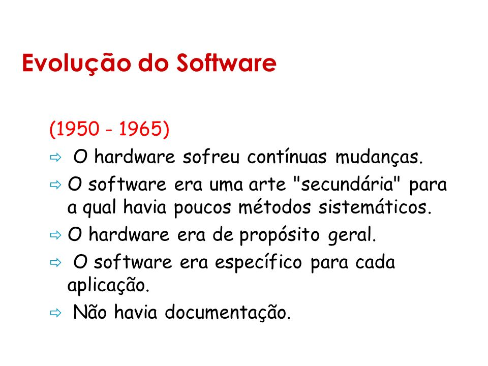Evolução do Software (1950 - 1965) O hardware sofreu contínuas mudanças.