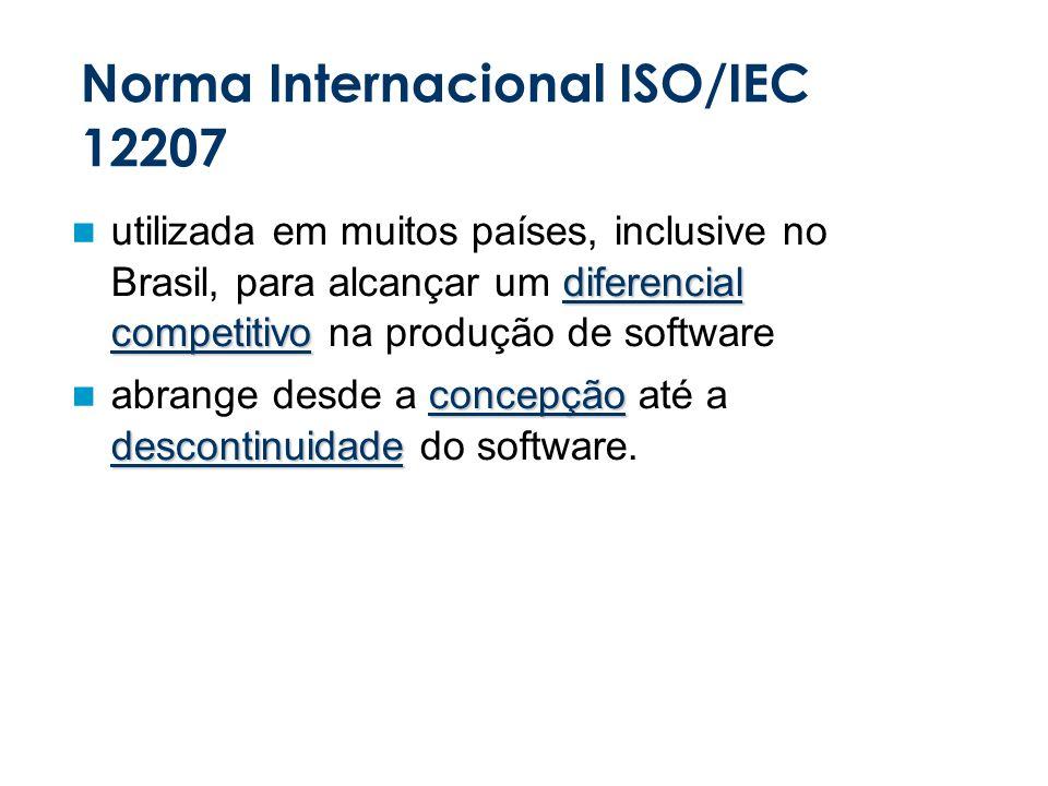 Norma Internacional ISO/IEC 12207 diferencial competitivo utilizada em muitos países, inclusive no Brasil, para alcançar um diferencial competitivo na produção de software concepção descontinuidade abrange desde a concepção até a descontinuidade do software.