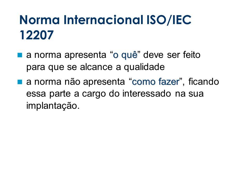 Norma Internacional ISO/IEC 12207 o quê a norma apresenta o quê deve ser feito para que se alcance a qualidade como fazer a norma não apresenta como fazer, ficando essa parte a cargo do interessado na sua implantação.