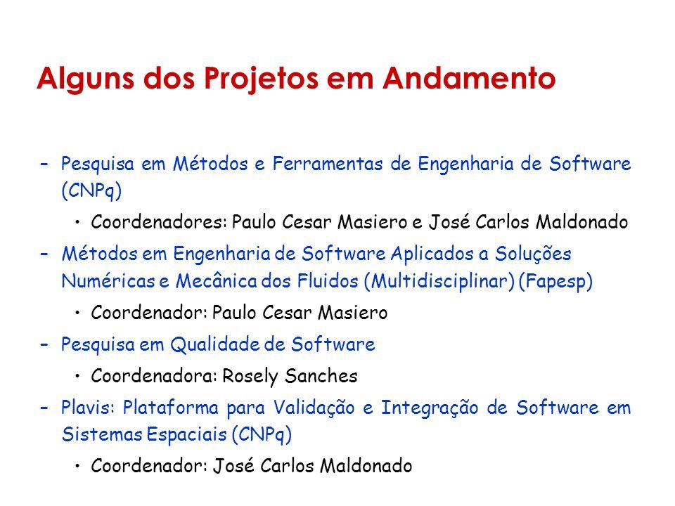 Alguns dos Projetos em Andamento –Pesquisa em Métodos e Ferramentas de Engenharia de Software (CNPq) Coordenadores: Paulo Cesar Masiero e José Carlos Maldonado –Métodos em Engenharia de Software Aplicados a Soluções Numéricas e Mecânica dos Fluidos (Multidisciplinar) (Fapesp) Coordenador: Paulo Cesar Masiero –Pesquisa em Qualidade de Software Coordenadora: Rosely Sanches –Plavis: Plataforma para Validação e Integração de Software em Sistemas Espaciais (CNPq) Coordenador: José Carlos Maldonado