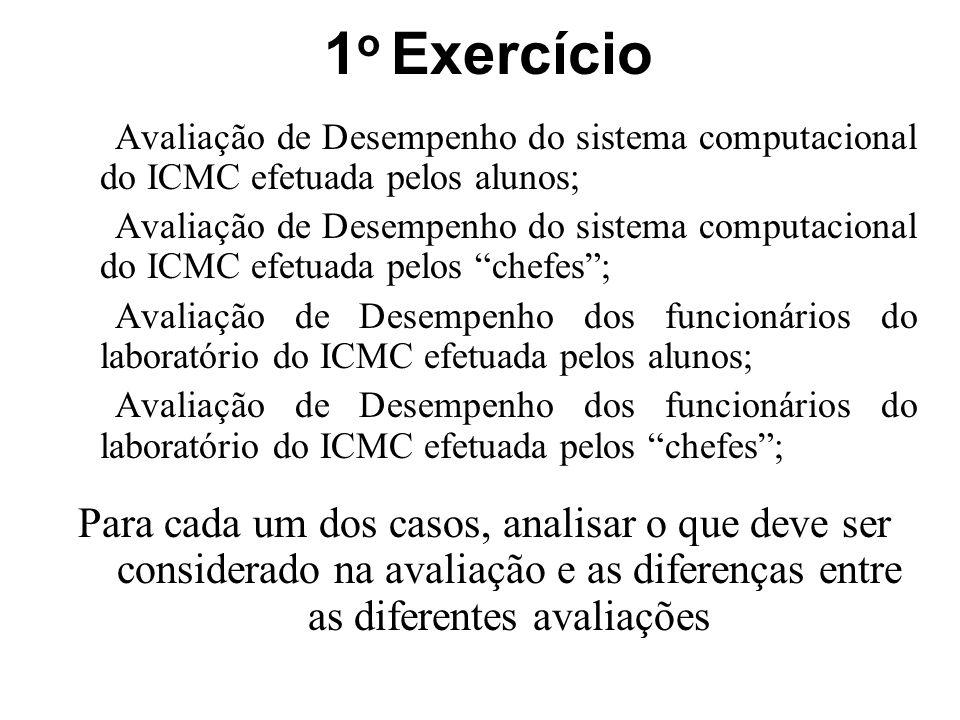 1 o Exercício Avaliação de Desempenho do sistema computacional do ICMC efetuada pelos alunos; Avaliação de Desempenho do sistema computacional do ICMC