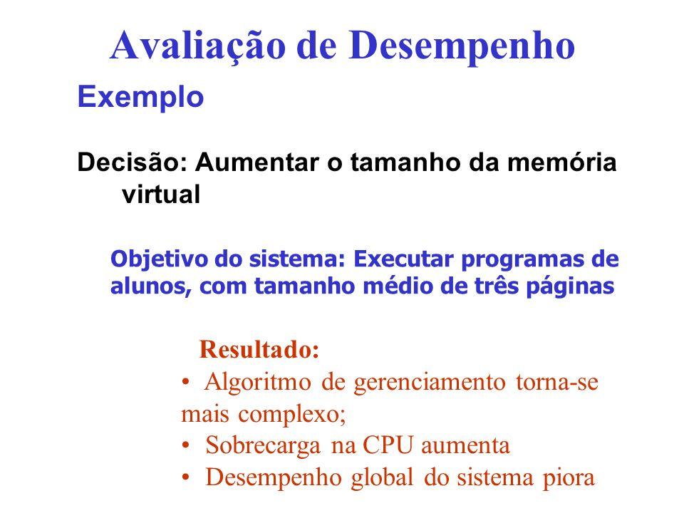 Avaliação de Desempenho Exemplo Decisão: Aumentar o tamanho da memória virtual Objetivo do sistema: Executar programas de alunos, com tamanho médio de