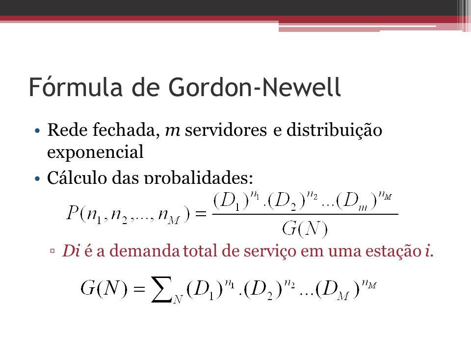 Fórmula de Gordon-Newell Rede fechada, m servidores e distribuição exponencial Cálculo das probalidades: Di é a demanda total de serviço em uma estaçã