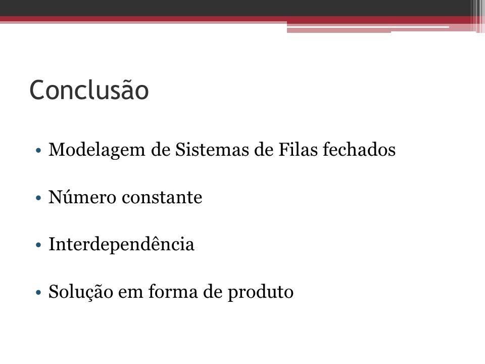 Conclusão Modelagem de Sistemas de Filas fechados Número constante Interdependência Solução em forma de produto