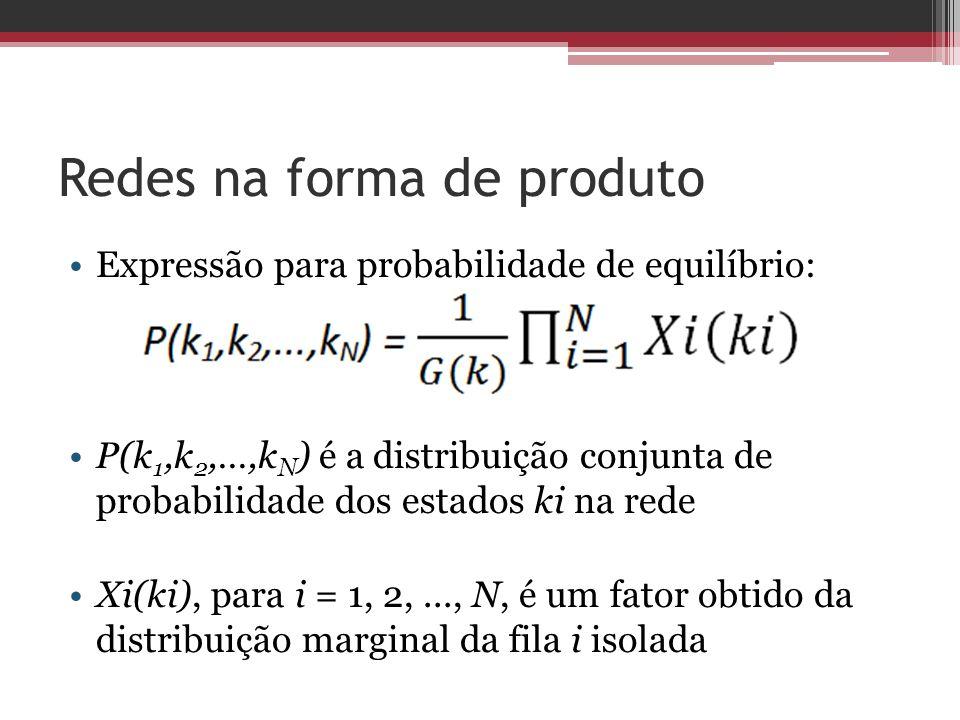 Redes na forma de produto Expressão para probabilidade de equilíbrio: P(k 1,k 2,…,k N ) é a distribuição conjunta de probabilidade dos estados ki na r