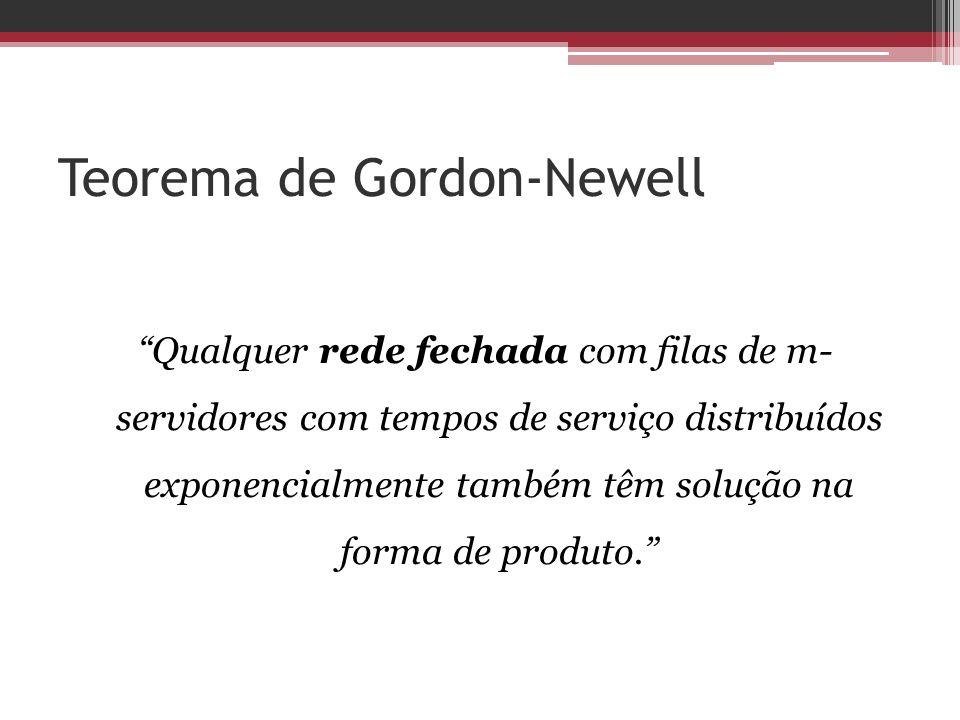 Teorema de Gordon-Newell Qualquer rede fechada com filas de m- servidores com tempos de serviço distribuídos exponencialmente também têm solução na fo
