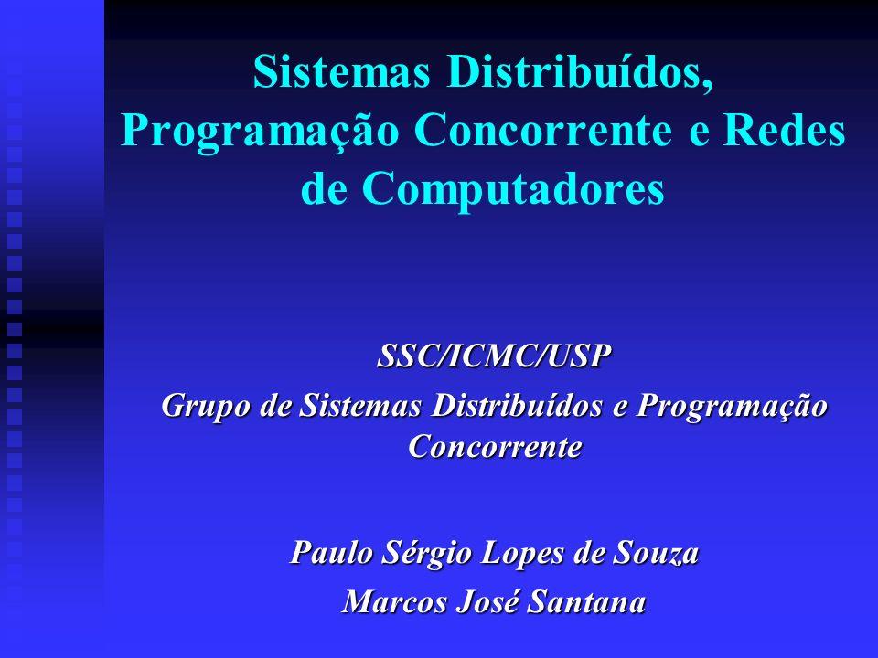 Sistemas Distribuídos, Programação Concorrente e Redes de Computadores SSC/ICMC/USP Grupo de Sistemas Distribuídos e Programação Concorrente Paulo Sérgio Lopes de Souza Marcos José Santana