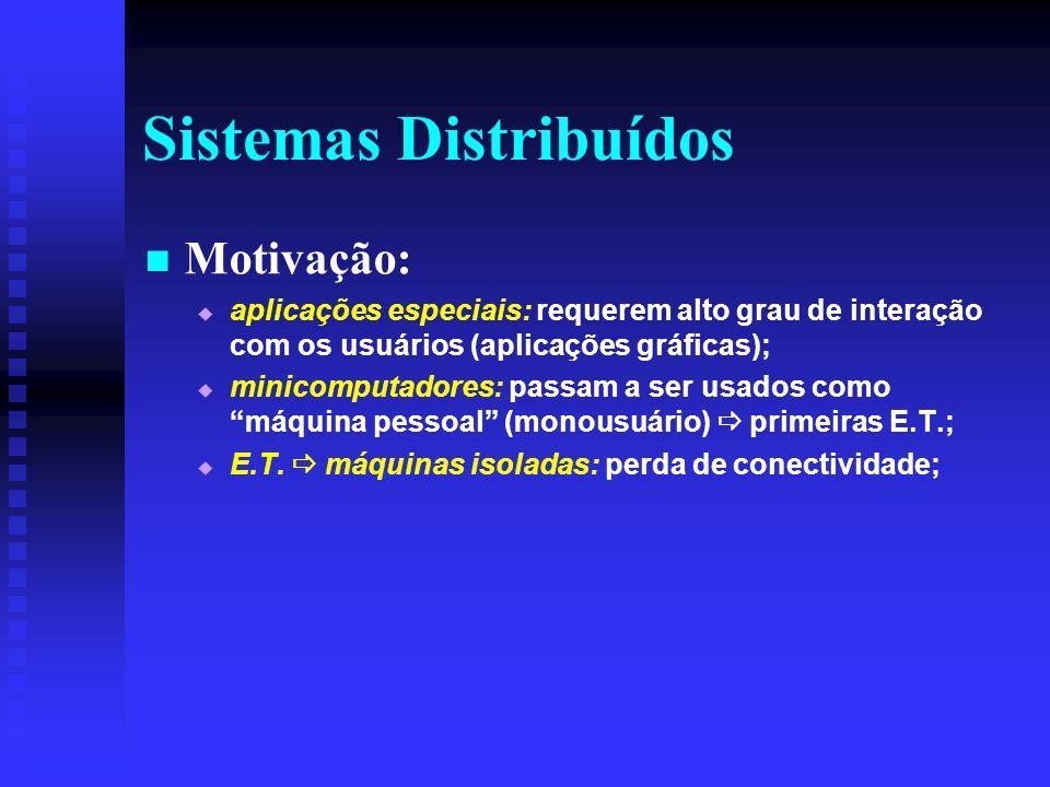 Sistemas Distribuídos Motivação: aplicações especiais: requerem alto grau de interação com os usuários (aplicações gráficas); minicomputadores: passam a ser usados como máquina pessoal (monousuário) primeiras E.T.; E.T.