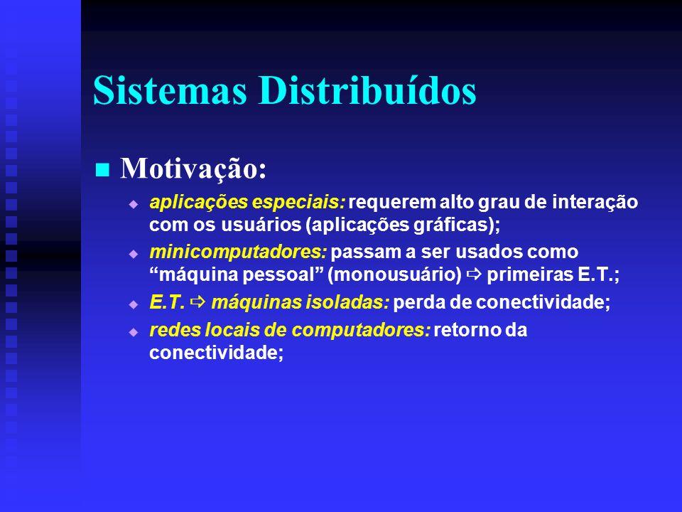 Sistemas Distribuídos Motivação: aplicações especiais: requerem alto grau de interação com os usuários (aplicações gráficas); minicomputadores: passam