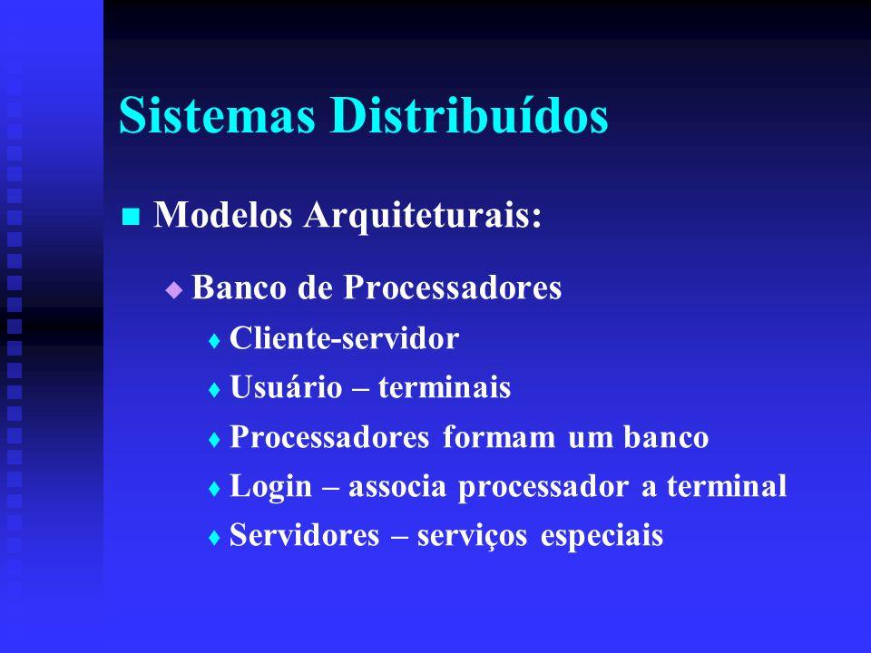 Sistemas Distribuídos Modelos Arquiteturais: Banco de Processadores Cliente-servidor Usuário – terminais Processadores formam um banco Login – associa processador a terminal Servidores – serviços especiais