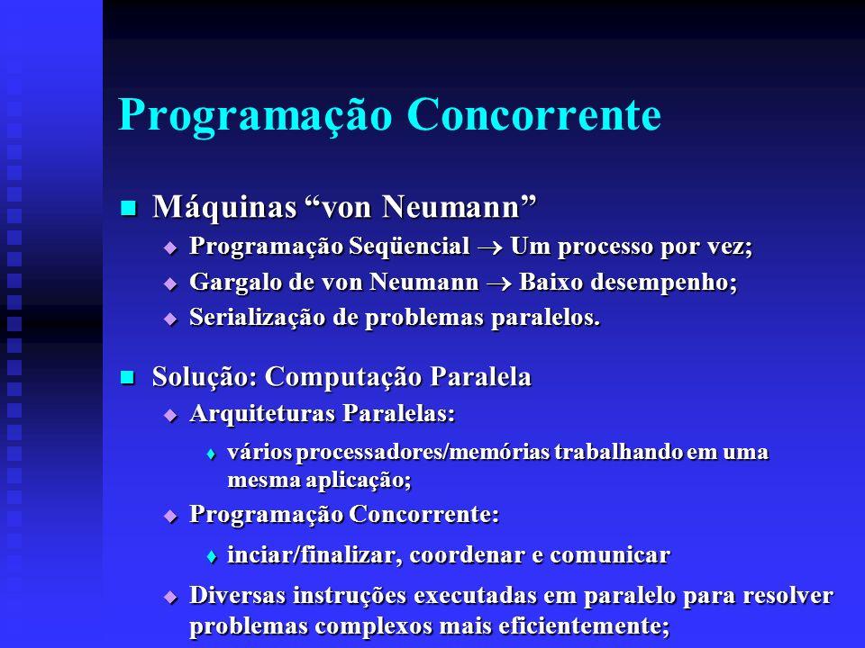 Programação Concorrente Máquinas von Neumann Máquinas von Neumann Programação Seqüencial Um processo por vez; Programação Seqüencial Um processo por vez; Gargalo de von Neumann Baixo desempenho; Gargalo de von Neumann Baixo desempenho; Serialização de problemas paralelos.