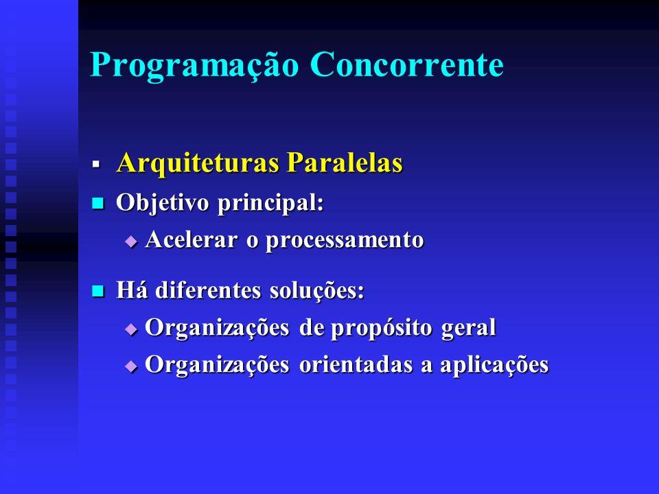 Programação Concorrente Arquiteturas Paralelas Arquiteturas Paralelas Objetivo principal: Objetivo principal: Acelerar o processamento Acelerar o processamento Há diferentes soluções: Há diferentes soluções: Organizações de propósito geral Organizações de propósito geral Organizações orientadas a aplicações Organizações orientadas a aplicações