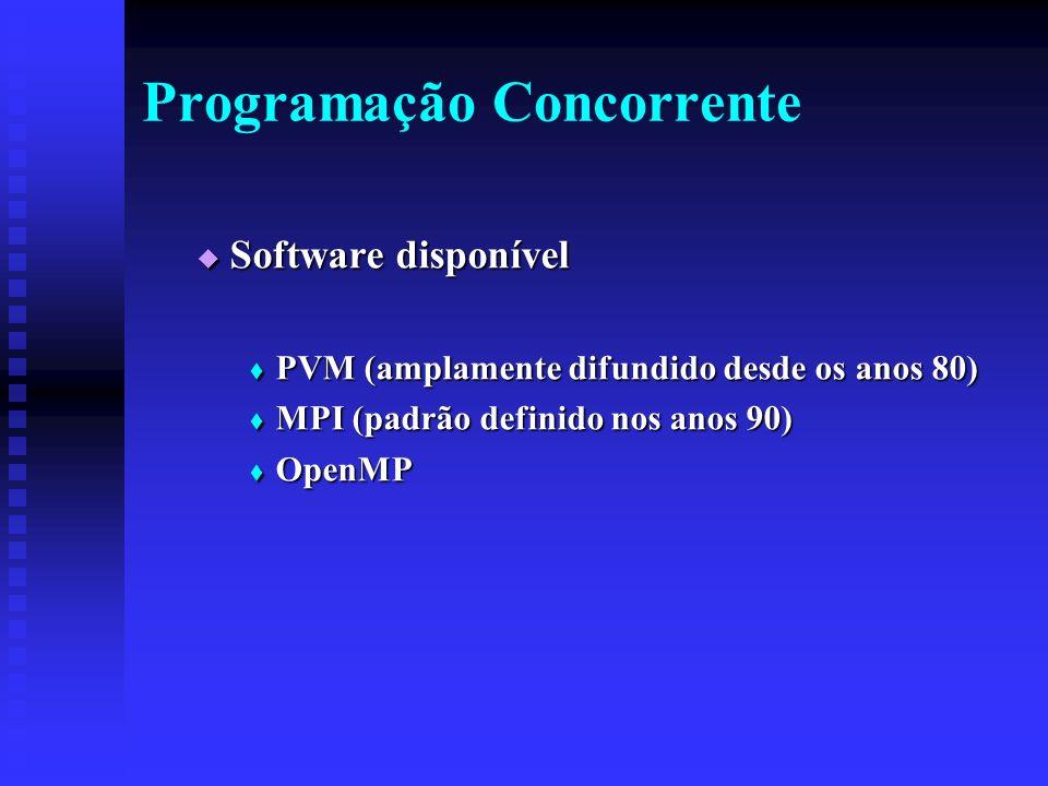 Programação Concorrente Software disponível Software disponível PVM (amplamente difundido desde os anos 80) PVM (amplamente difundido desde os anos 80) MPI (padrão definido nos anos 90) MPI (padrão definido nos anos 90) OpenMP OpenMP