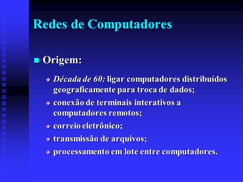 Redes de Computadores Origem: Origem: Década de 60: ligar computadores distribuídos geograficamente para troca de dados; Década de 60: ligar computadores distribuídos geograficamente para troca de dados; conexão de terminais interativos a computadores remotos; conexão de terminais interativos a computadores remotos; correio eletrônico; correio eletrônico; transmissão de arquivos; transmissão de arquivos; processamento em lote entre computadores.
